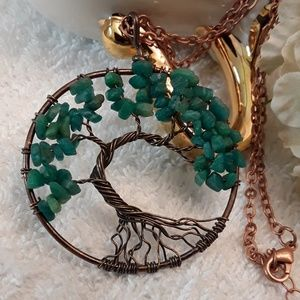 NEW Green Agate Tree of Life Pendant